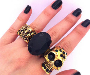 skull, black, and nails image