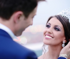bride, earings, and tiara image