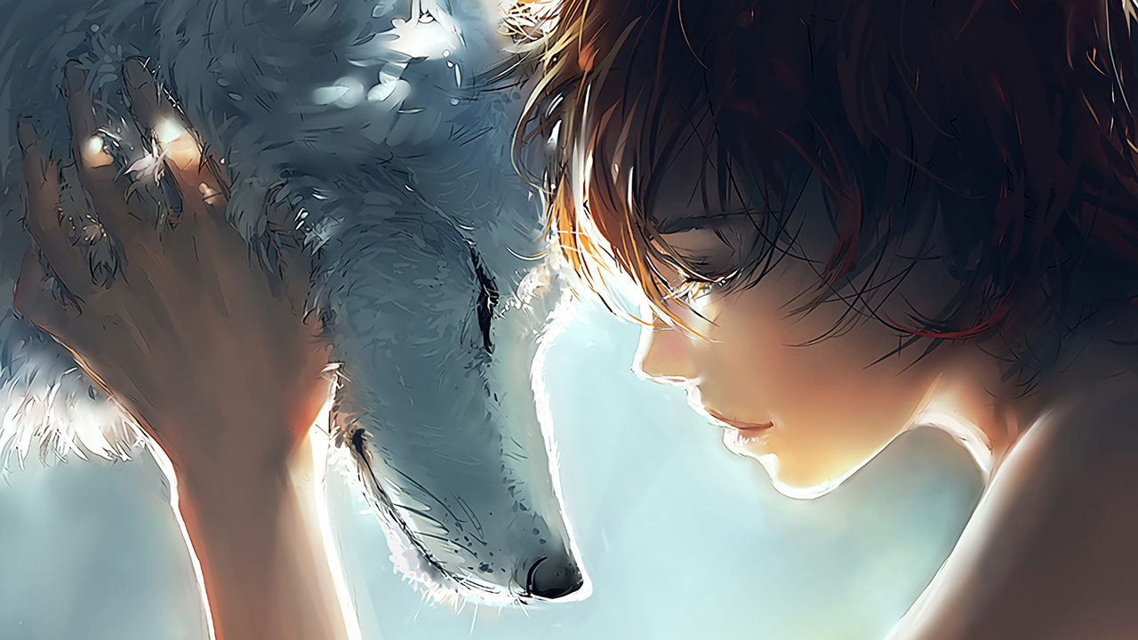 anime, art, and wolf image