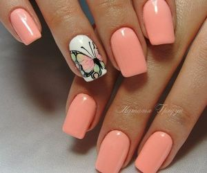 nails, nail art, and butterfly image