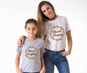 thanksgiving outfit, matching family shirts, and mom daughter shirts image