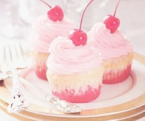cupcake, cherry, and pink image
