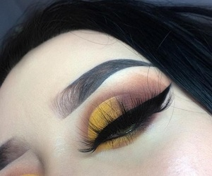 yellow, eyebrows, and makeup image