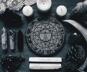 candle, crystal, and witch image