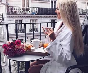 blonde, breakfast, and flowers image