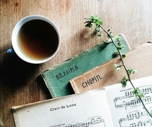 music, chopin, and coffee image