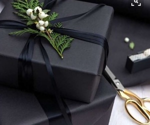 christmas, gift, and black image