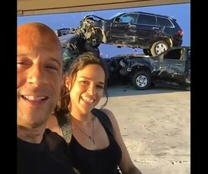 behind the scene, michelle rodriguez, and Vin Diesel image