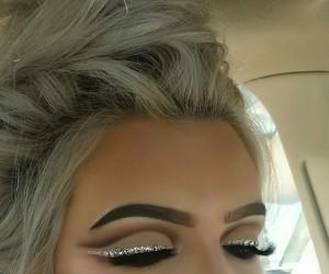eye makeup, grey hair, and makeup image