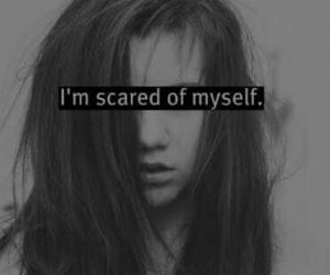 scared, myself, and sad image