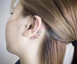 tattoo, ear, and flowers image
