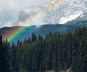 rainbow, mountains, and landscape image