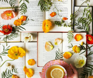 books, flowers, and goals image
