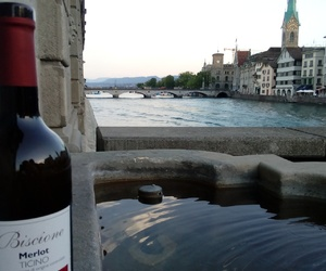 bridge, enjoying, and wine image