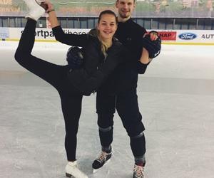 couple, hockey, and ice image