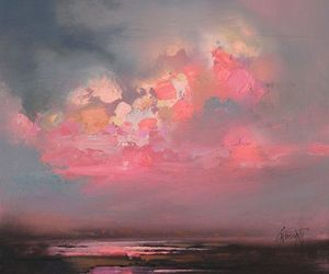 art, sky, and pink image
