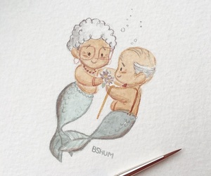 elderly, old people, and mermaids image