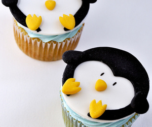 cupcake, penguin, and boy image