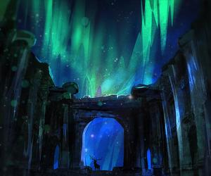art, deer, and northern lights image