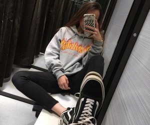 girl, vans, and thrasher image
