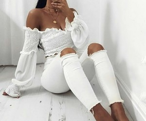 white outfit, fashion style cool, and classy luxurious dress image