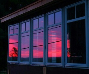 window, sunset, and pink image