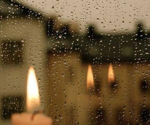 rain, candle, and window image