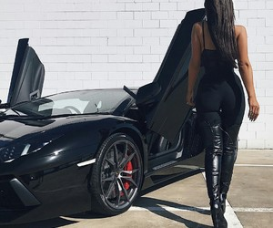 car, girl, and black image