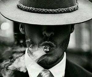 man, cigar, and smoke image