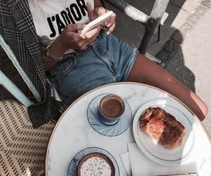 fashion, girl, and cafe image
