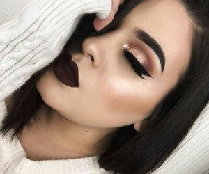 black hair, makeup, and pretty image