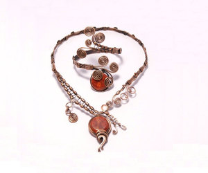etsy, coral necklace, and wire wrap jewelry image