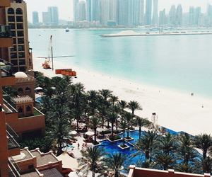 beach, Dubai, and palms image