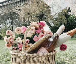 paris, flowers, and picnic image