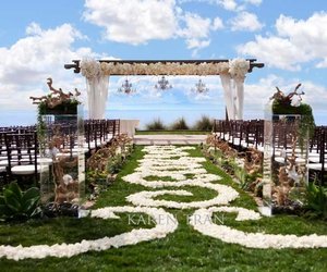 aisle, ceremony, and flowers image
