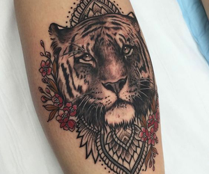 tattoo, tiger, and ink image