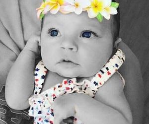 baby, flower headband, and flowers image