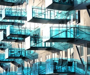 balconies, blue, and turquoise image