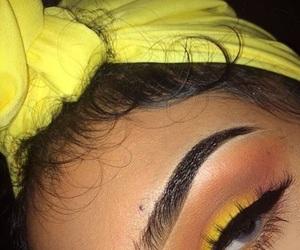makeup, yellow, and eyebrows image