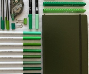 art supplies, green, and journal image