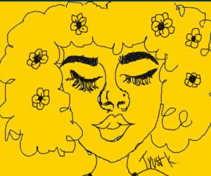 art, cartoon, and curly hair image