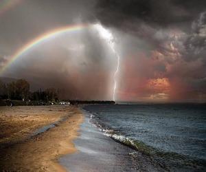 rainbow, nature, and beach image