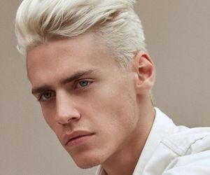 white hair young man image