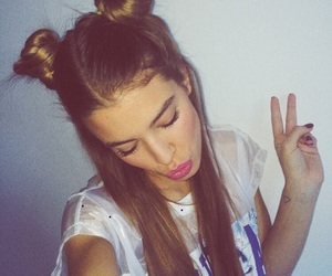 brunette, hairstyle, and bun image