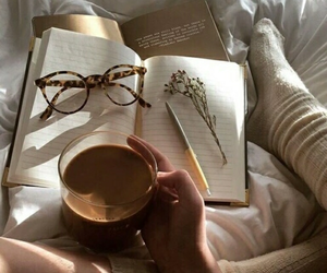 books, coffee, and glasees image