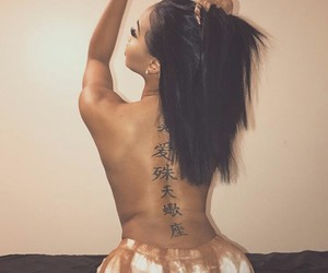 back tattoo, chinese tattoo, and hair image