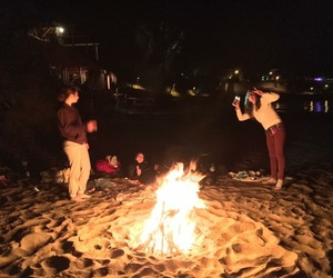 beach, fire, and teen image