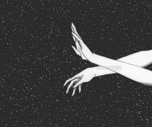 stars, hands, and black image