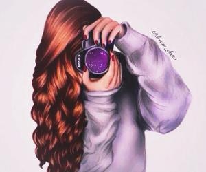 drawing, camera, and hair image