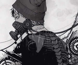 anime, black and white, and boy image